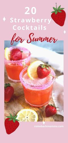 20 Delightful Strawberry Cocktails Perfect for Summer – The Cute Bubble Refreshing Summer Cocktails, Party Drinks, Summer Drinks, Fun Drinks, Cocktail Recipes, Beverages, Mixed Drinks, Sparkling Strawberry Lemonade, Salud