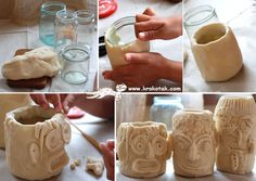 Cute clay idea for the kids! Get them to make face mugs and vases with clay and old glass jars :) Salt Dough Projects, Salt Dough Crafts, Clay Projects, Craft Activities For Kids, Diy Crafts For Kids, Projects For Kids, Diy Clay, Clay Crafts, Cornstarch Clay