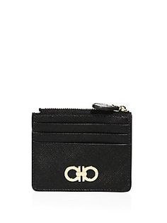Salvatore Ferragamo Gancini Icona Vitello Leather Zip Wallet - Black