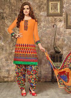 Spectacular Cotton   Orange Punjabi Suit