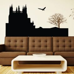 Castle And Bare Tree Wall Sticker. Enter the world of ancient royalty and mythical happenings with this eerie and intricate wall décor featuring a tall and splendid castle complete with turrets and towers and a solitary lone tree in the backdrop to make it just right. http://walliv.com/castle-and-bare-tree-wall-sticker-wall-art-decal