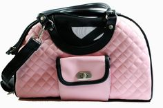 New Pink Quilted Pet Carrier Soft Travel Small Dog Purse Pet Tote.
