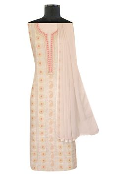 Ada Hand Embroidered Fawn Khadi Lucknowi Chikan Unstitched Suit Piece With Muqaish Work-01A48554 offers a comfortable and relaxed silhouette to the wearer. #Ada #Adachikan #chikankari #khadisuit #unstitched #chikancollection #chikankari #muqaish #kamdani #embellishment #ornamentation #handcrafted #handembroidered #chikankariwork #fawn #chikan