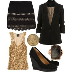 Golden Goddess look on Polyvore. Awesome New Years eve look!