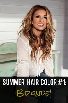 "Summer Hair Color Trend #1: Bronde. I don't know what ""bronde"" is but her color is pretty."