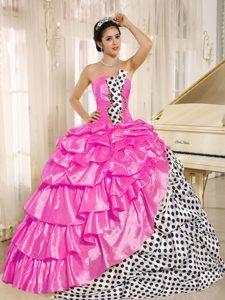 Provocative Multi-color Pick-ups Strapless Quinces Gown Dresses in Taffeta