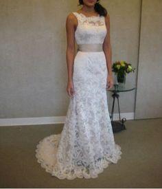 White / ivory lace wedding dress prom dress, Mermaid Beach wedding dress bridal gown, lace bridal gown on Etsy, $139.00