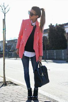 pink jacket & sneaker wedges