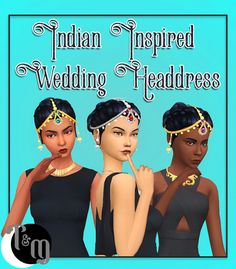 Indian Inspired Wedding Headdress - by teanmoon Comes in 6 gem colors, in silver and gold variation colors total) Mesh and Textures extracted from mesh Under Hats Teen - Elder Custom Thumbnail. Sims 4 Cc Skin, Sims Cc, Royal Indian, Wedding Headdress, Indian Accessories, High Fashion Makeup, Sims Mods, The Sims4, Ts4 Cc