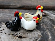 3 small chicken beads - black, white, and tan - lampwork glass - jewelry and craft supplies - rooster