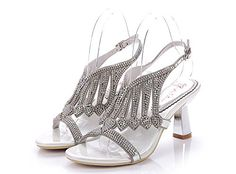 Geminigirl Womens Waterfall Patterned Rhinestone Chunky Heels Sandals Wedding Bridal Shoes Silver 105 M US >>> See this great product.(This is an Amazon affiliate link and I receive a commission for the sales)