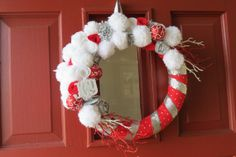 Christmas wreath wreaths red and white wreath by SivaDesigns, $42.00