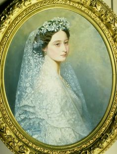 Princess Alice in her wedding dress, by George Koberwein (1820-76), 1862; the face is copied from a painting by Winterhalter.
