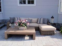 64 Ideas outdoor furniture design wood patio for 2019 Budget Patio, Diy Patio, Rustic Outdoor Coffee Tables, Rustic Outdoor Furniture, Coffe Table, Rustic Table, Farmhouse Furniture, Rustic Wood, Outdoor Tables
