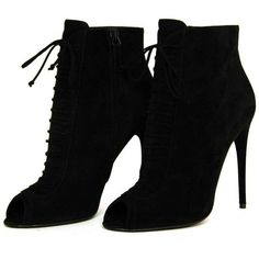 TOM FORD NEW IN BOX Black Suede Lace Up Peep Toe Booties Sz. 39.5 ❤ liked on Polyvore featuring shoes, boots, ankle booties, heels, lace-up booties, suede peep toe bootie, black suede booties, black heeled boots and black suede boots