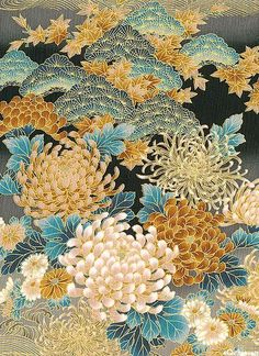 Chrysanthemum Perfection from the Tranquility collection by Kona Bay Fabrics on Japanese Textiles, Japanese Fabric, Japanese Prints, Japanese Design, Japanese Art, Chinese Patterns, Japanese Patterns, Japanese Painting, Chinese Painting