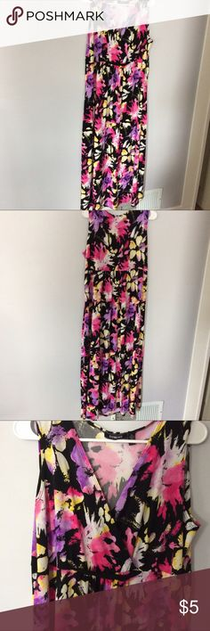 Bold Floral Maxi dress Gorgeous floral maxi dress with v neck. Yellow pink and purple colors perfect for the spring and summer. In great preowned condition. Size XL Dresses Maxi