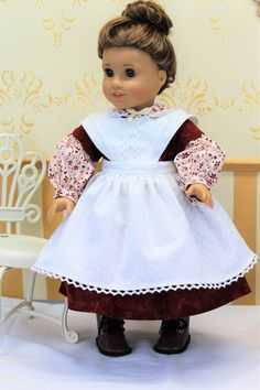AMERICAN GIRL Retired COLONIAL PINK SPRING BIRTHDAY GOWN w APRON REPRODUCTION