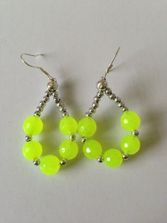 Neon Yellow Faceted Jade Dangle Earrings by CloudNineDesignz, $12.00 #Rt
