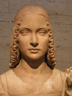 Cristoforo Romano (detail) portrait bust of Isabella d'Este. c. 1500 Terracotta, formerly polychromed 21 3/8 x 21 1/2 in. (54.3 x 54.6 cm)