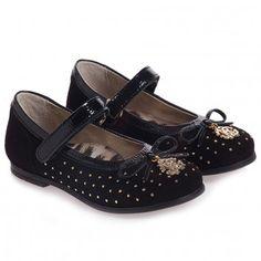 Roberto Cavalli Girls Black Leather Shoes With Studs at Childrensalon.com