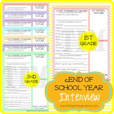Kids End of School Year Interview - such a great idea! this site has tons of great printables!