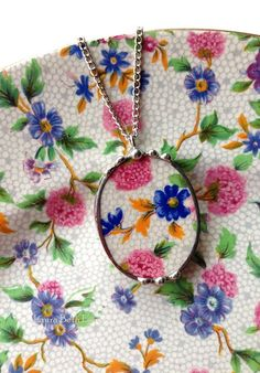 Old Cottage Chintz broken china jewelry necklace pendant oval floral Royal Winton china