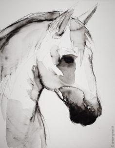 Le cheval Crayon et aquarelle par GWEL www.gwel.fr