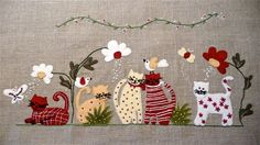 Felt kittens in application Hand Applique, Wool Applique, Applique Patterns, Applique Quilts, Quilt Patterns, Felt Crafts, Fabric Crafts, Sewing Crafts, Felt Embroidery
