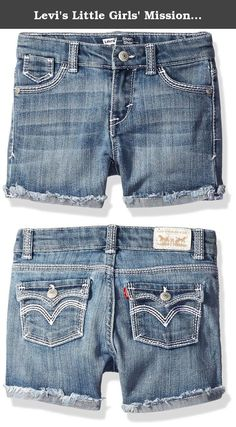 Levi's Little Girls' Mission Thick Denim Stitch Shorty Short, Blue Vibes, 5. Give her the chic, fashionable look she'll love in these modern short shorts with our classic 5-pocket design, detailed embroidery and an adjustable waistband that will ensure ultimate comfort all day long.