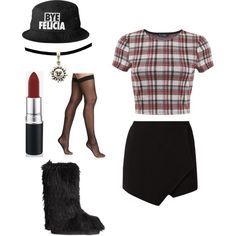 A fashion look from December 2014 featuring Miss Selfridge tops, Wolford hosiery and H&M boots. Made by heyjude-282
