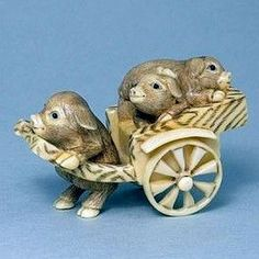 Hippo Ivory Tusk Netsuke 3 Pigs on Cart Figurine Carving