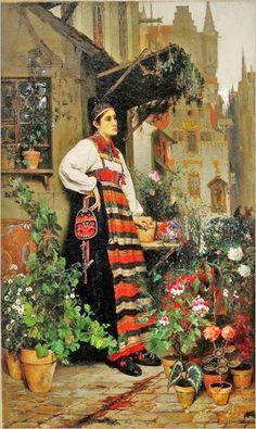 "Hugo Salmson (Swedish, 1843-1894)   ""Flower Seller"""