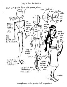 How to Draw Worksheets for The Young Artist: Printable How To Draw A Picture Of Pocahontas Worksheet