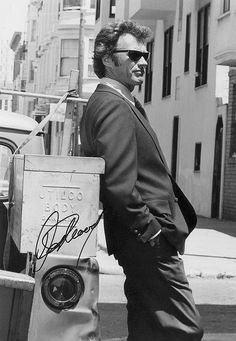 Clint Eastwood on the set of Dirty Harry.