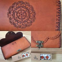 Beth Newton handstamped leather clutch and personalised cufflinks created especially for Harmen and Esther's special day! Leather Pieces, Leather Clutch, Special Day, Hand Stamped, Cufflinks, Wallet, Chain, Handmade, Hand Made