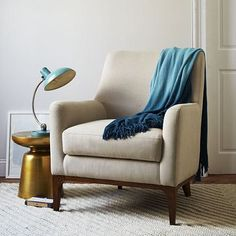 """Ideal for the living space Sloan Upholstered Chair - Solids #westelmOverall product dimensions: 31.5""""w x 34.5""""d x 39""""h.  Seat depth: 22.75"""".  Seat height: 20.5"""".  Back height: 22"""". $600"""