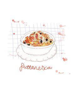 Big bowl of yummy puttanesca pasta, limited edition food illustration print. $21.00, via Etsy.