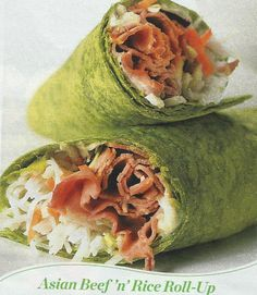Asian Beef 'n' Rice Roll-Up (from First for Women Magazine) 1 Spinach Wrap 2 Tbs Horseradish Mayo or Sesame Ginger Marinade 3/4 Cup Cooked Rice 5 Slices Deli Roast Beef 1/4 - 1/2 Cup Shredded Carrots  Maybe try a little rice wine vinegar mixed with the rice instead of the horseradish mayo.