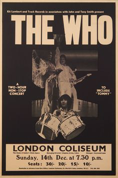 A superb handbill advertising The Who's December 1969 concert at the Palace in Manchester, England. This show was part of a 5 concert mini-tour to promote Pop Posters, Band Posters, Music Posters, Event Posters, Vintage Concert Posters, Vintage Posters, Mundo Hippie, Pochette Album, Rock Concert