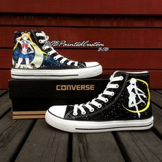 Sailor Moon Womens High Top Converse Shoes Creative Gifts by BoBPaintedCustom