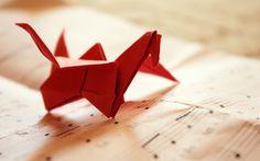 Origami Bird Music Red Paper Sheet Music HD Wallpaper