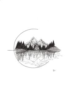 This listing is for one Cozy Cabin art print. This print was created with ink pens and scanned and printed onto Epson Ultra Premium Presentation Matte Paper using Hi-Definition ink.Cozy Cabin- A-frame in Nature Wall Art Print Natur Tattoos, Kunst Tattoos, Art Drawings Sketches, Tattoo Drawings, Sketches Of Nature, Easy Nature Drawings, Tattoo Sketch Art, Tattoo Art, Glyph Tattoo