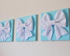 "Tiffany Blue -SET OF THREE White Bows on Bright Aqua Solid 12 x12"" Canvas Wall Art- Home Decor"