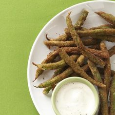 "Green Bean Fries | ""One of my new favorite side dishes, especially since my picky daughter gobbles them up! Made just as recipe is written. Even my husband who fears some vegetables came back for seconds and thirds. """