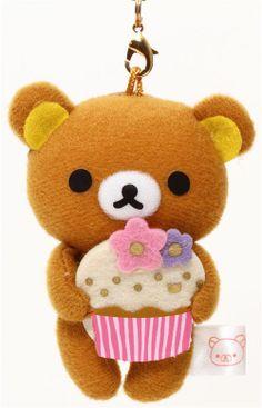 Rilakkuma brown bear with cupcake plush charm San-X