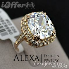 LRG 18K Real Gold Plated Royal Oval Cubic Zirconia Ring