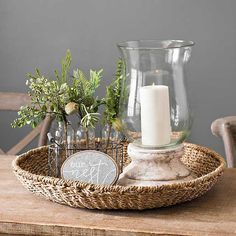 kitchen island decor This Seagrass Round Decorative Tray will make the perfect centerpiece for your coffee table. Arrange flowers, candles, and books inside this lovely tray.
