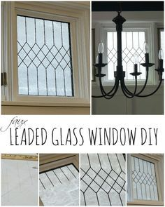 When it comes to architectural details, I dream of lots and lots of molding and pretty windows. I love how Linda took her plain window and made it into a faux leaded glass window! Painting On Glass Windows, Leaded Glass Windows, Transom Windows, Lead Windows, Painted Glass Windows, Glass Panels, Etched Glass Windows, Windows Image, Etched Mirror