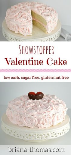 This Showstopper Valentine Cake is THM:S, low carb, sugar free, and gluten/nut free! Sugar Free Desserts, Low Carb Desserts, Healthy Desserts, Thm Recipes, Dessert Recipes, Healthy Recipes, Flour Recipes, Healthy Foods, Free Recipes